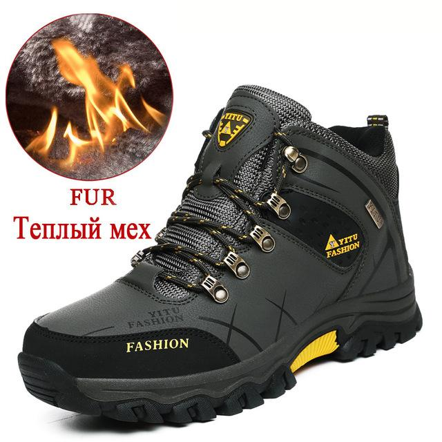 Brand Men Winter Snow Boots Warm Super Men High Quality Waterproof Leather Sneakers Outdoor Male Hiking Boots Work Shoes 39-47