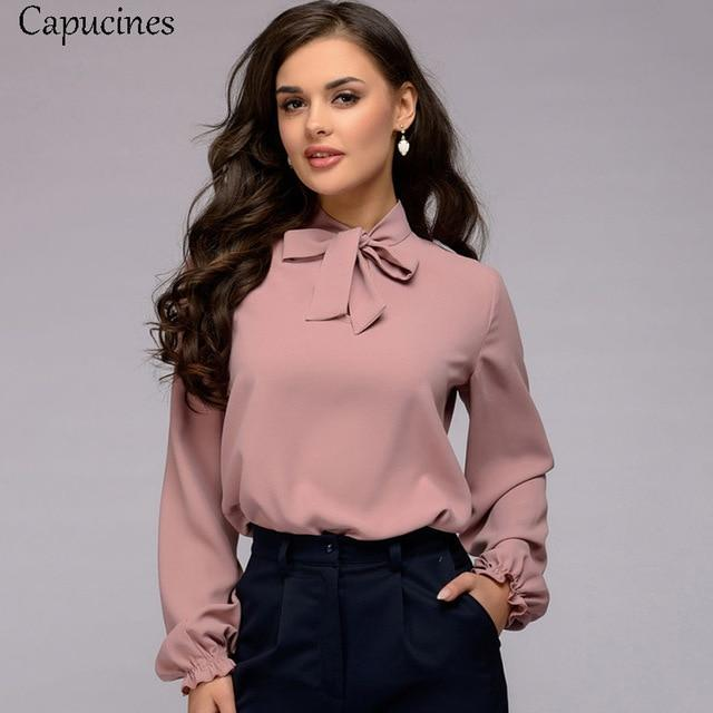 Capucines Elegant Bow Tie Women Shirt 2019 Spring Ladies Solid Long Sleeve Chiffon Shirts Casual Blouses Vintage Tops Blusas - Maverick Mall