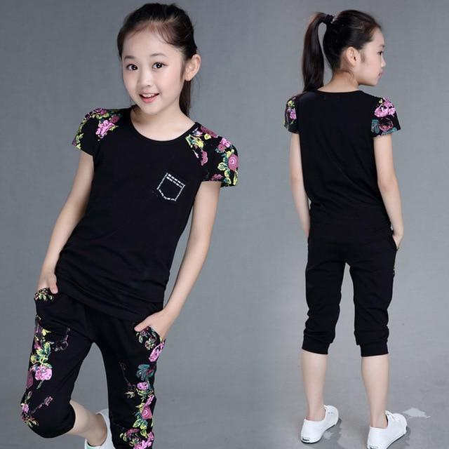 Children Clothing Sets Summer Girls Sports Suit Cotton Print Short Sleeve T-shirt+Pants 2Pcs Girls Clothes 4 6 8 10 12 13 Years - Maverick Mall