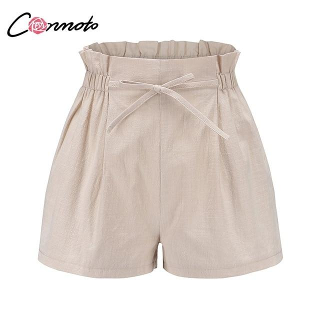 Conmoto Casual Beige Holiday Beach Lace up Thin Shorts Women 2019 Summer High Street Stylish Elastic Waist Girl Shorts Plus Size- Maverick Mall