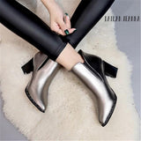 European style contracted Tide Girl Boots Woman British Style Rivet Boots Martin Boots Autumn Winter 2018 New High-heeled Shoes - Maverick Mall