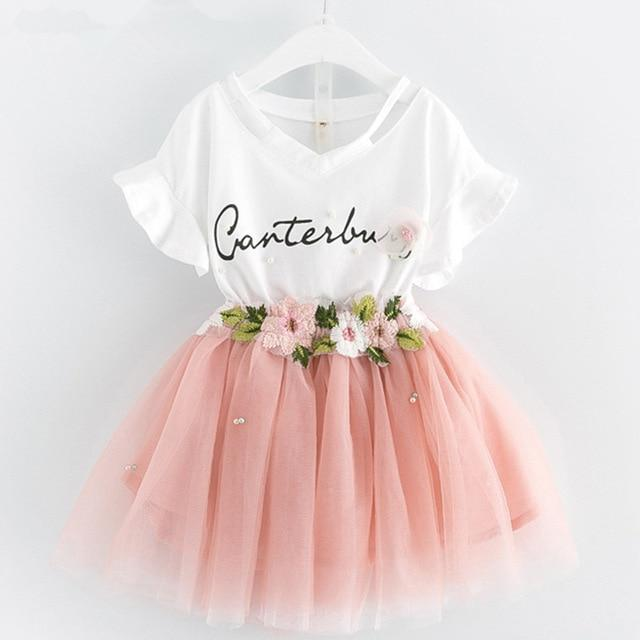 Girls Dresses 2019 Brand Kids Clothes Butterfly Sleeve Letter T-shirt+Floral Voile Dress 2Pcs for Clothing Sets Children Dress- Maverick Mall