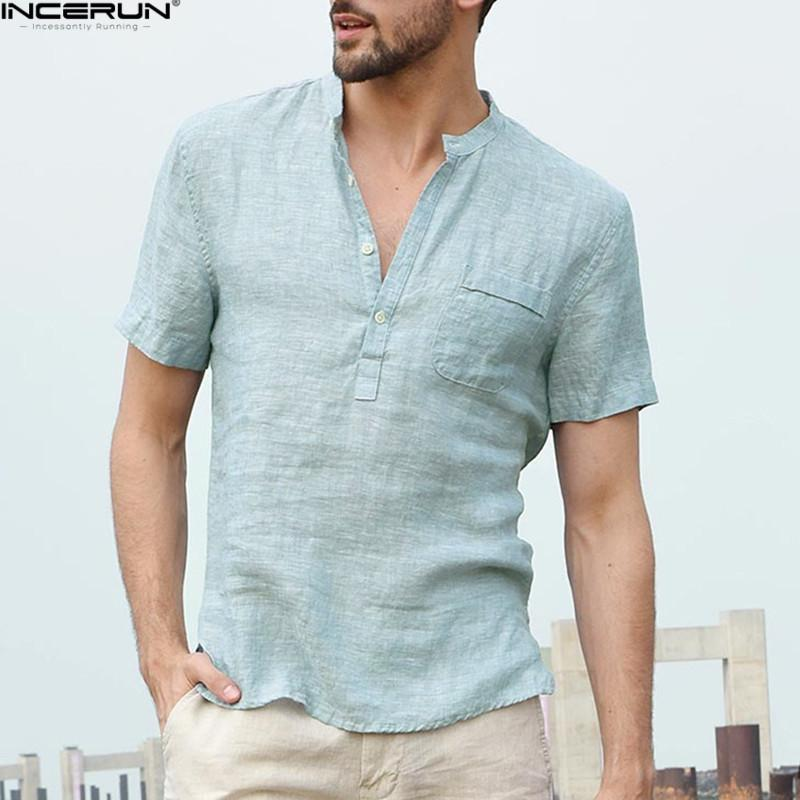 INCERUN 2019 Men's Shirts Stand Collar Short Sleeve Button Casual Tops Male Streetwear Loose Summer Breathable Shirt Chemise - Maverick Mall