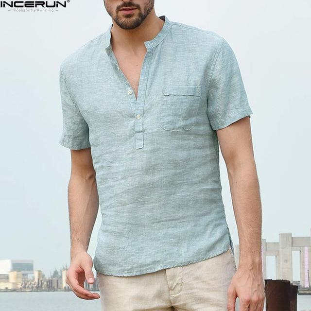 INCERUN 2019 Men's Shirts Stand Collar Short Sleeve Button Casual Tops Male Streetwear Loose Summer Breathable Shirt Chemise- Maverick Mall