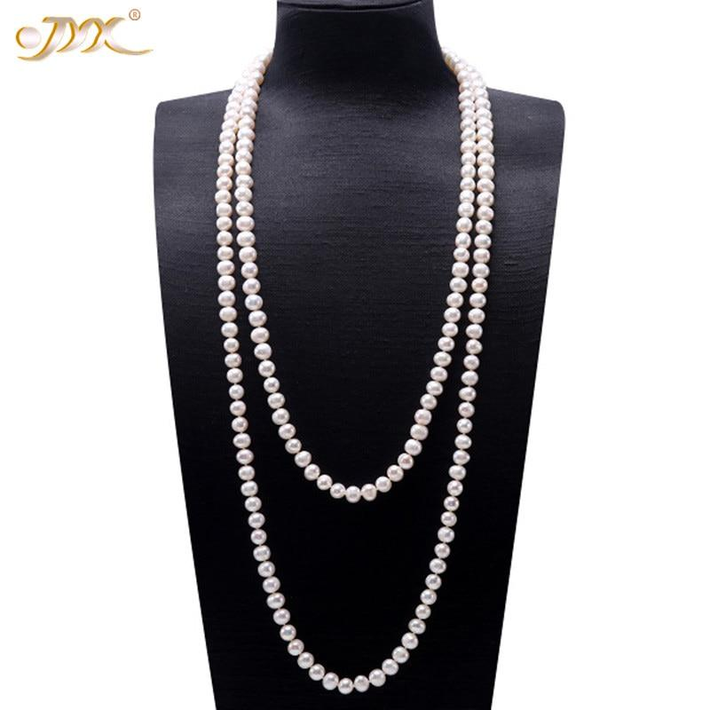 JYX Pearl Sweater Necklaces Long Round Natural White 8-9mm Natural Freshwater Pearl Necklace Endless charm necklace 328sale - Maverick Mall