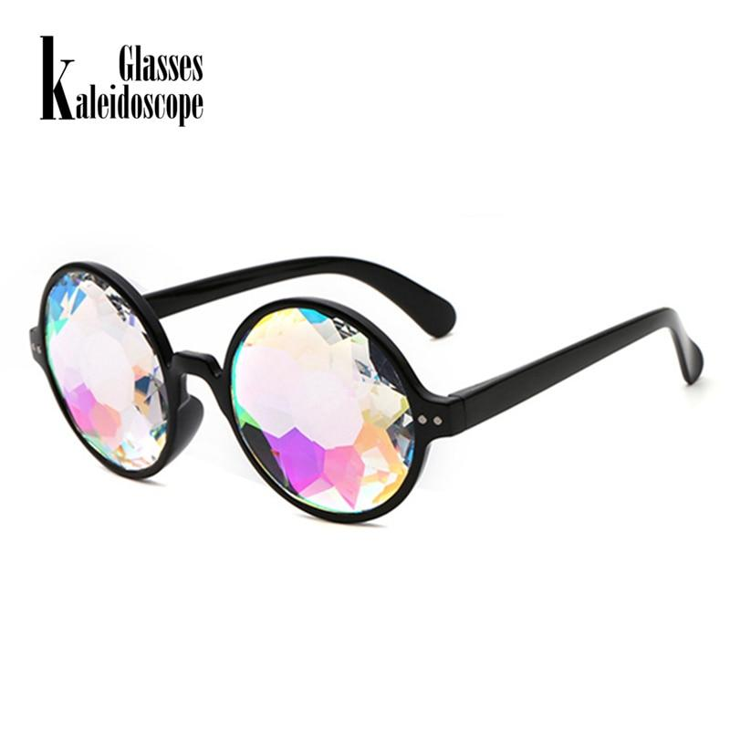 Kaleidoscope Glasses Rave Men Round Kaleidoscope Sunglasses Women Party Psychedelic Prism Diffracted Lens EDM Sunglasses Female- Maverick Mall