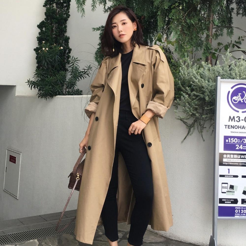 khaki Trench Coat Casual women's long Outerwear loose clothes for lady with belt spring autumn fashion high quality army green - Maverick Mall