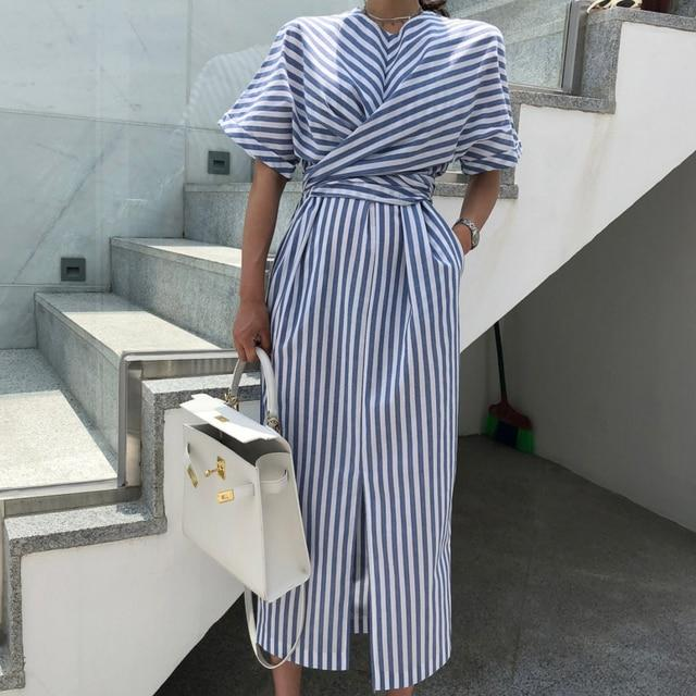 Korean Women Summer Cotton Blue Striped Bandage Split Long Dress Female Long Bodycon Plus Size Vestido Robe Femme Ete Sukienki- Maverick Mall