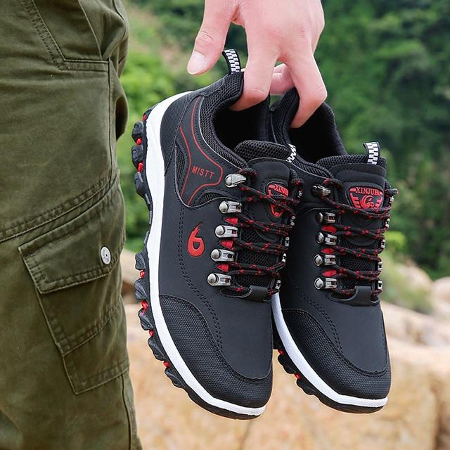 LAKESHI Men Leather Outdoor Hiking Sneakers Male Shoes Adult Non-Slip Casual Military Army Shoes Autumn Hard-wearing Footwear - Maverick Mall