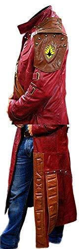 Men Jacket - Star Red Leather Trench Coat Men's Costume Jacket Cosplay