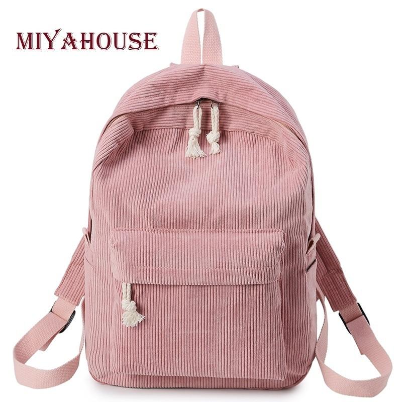 Miyahouse Preppy Style Soft Fabric Backpack Female Corduroy Design School Backpack For Teenage Girls Striped Backpack Women- Maverick Mall
