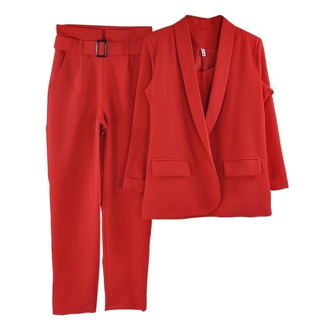 MVGIRLRU Office Ladies Solid 3 Pieces Set Buttonless Slim Blazer CamisTops and Pant Women Pants Suits - Maverick Mall