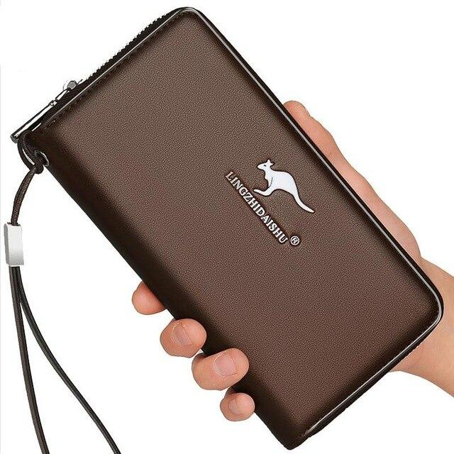 New Come Fashion Luxury Brand High Quality zipper men clutches Wholesale Men Long Wallet PU Leather Purse Handbags For Male- Maverick Mall