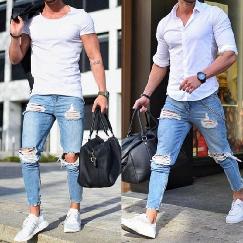 New Men's Jeans Stretch Destroyed Ripped Design Fashion Ankle Zipper Skinny Jeans For Men Plus Size - Maverick Mall
