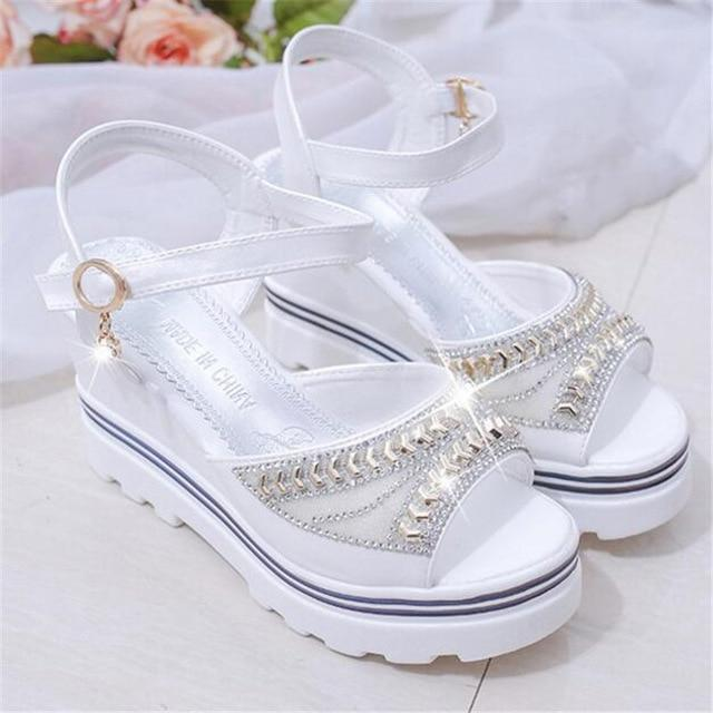 New wedge with female sandals fish mouth buckle with flat bottom platform waterproof platform thick bottom cake women's shoes - Maverick Mall