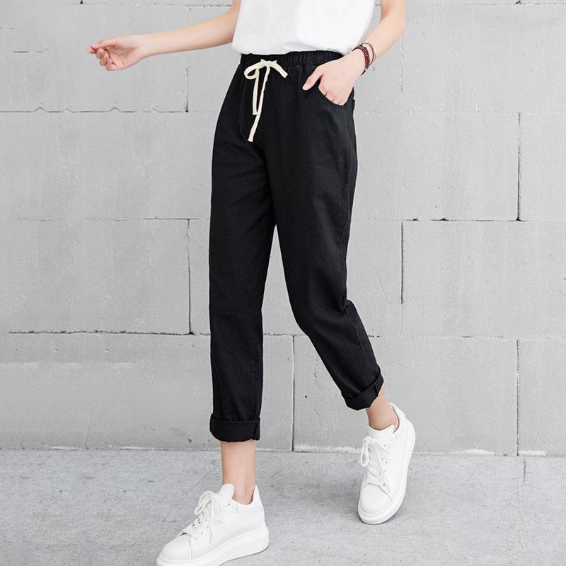 New Women Casual Harajuku Spring Autumn Big Size Long Trousers Solid Elastic Waist Cotton Linen Pants Ankle Length Haren Pants - Maverick Mall