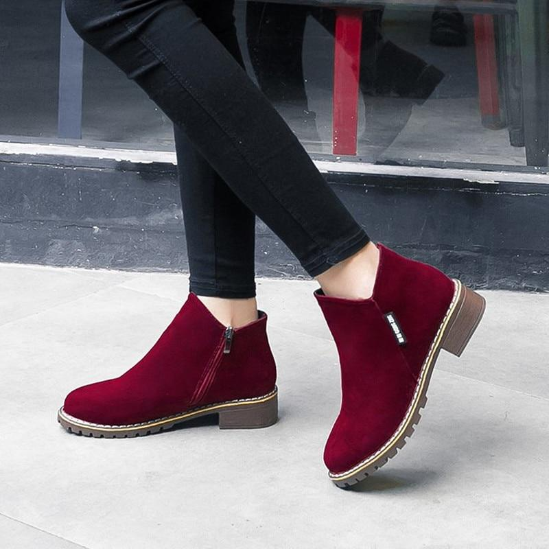 NEW Women Martin Boots Autumn Winter Boots Classic Zipper Snow Ankle Boots Winter Suede Warm Fur Plush Women Shoes 35-40 - Maverick Mall