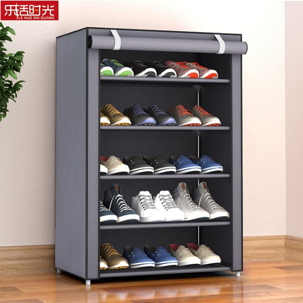 Nonwoven Fabric Simple Shoes Rack Close to the Door Detachable Shoes Organizer Closet Storage Living Room Dustproof Shoe Shelf - Maverick Mall
