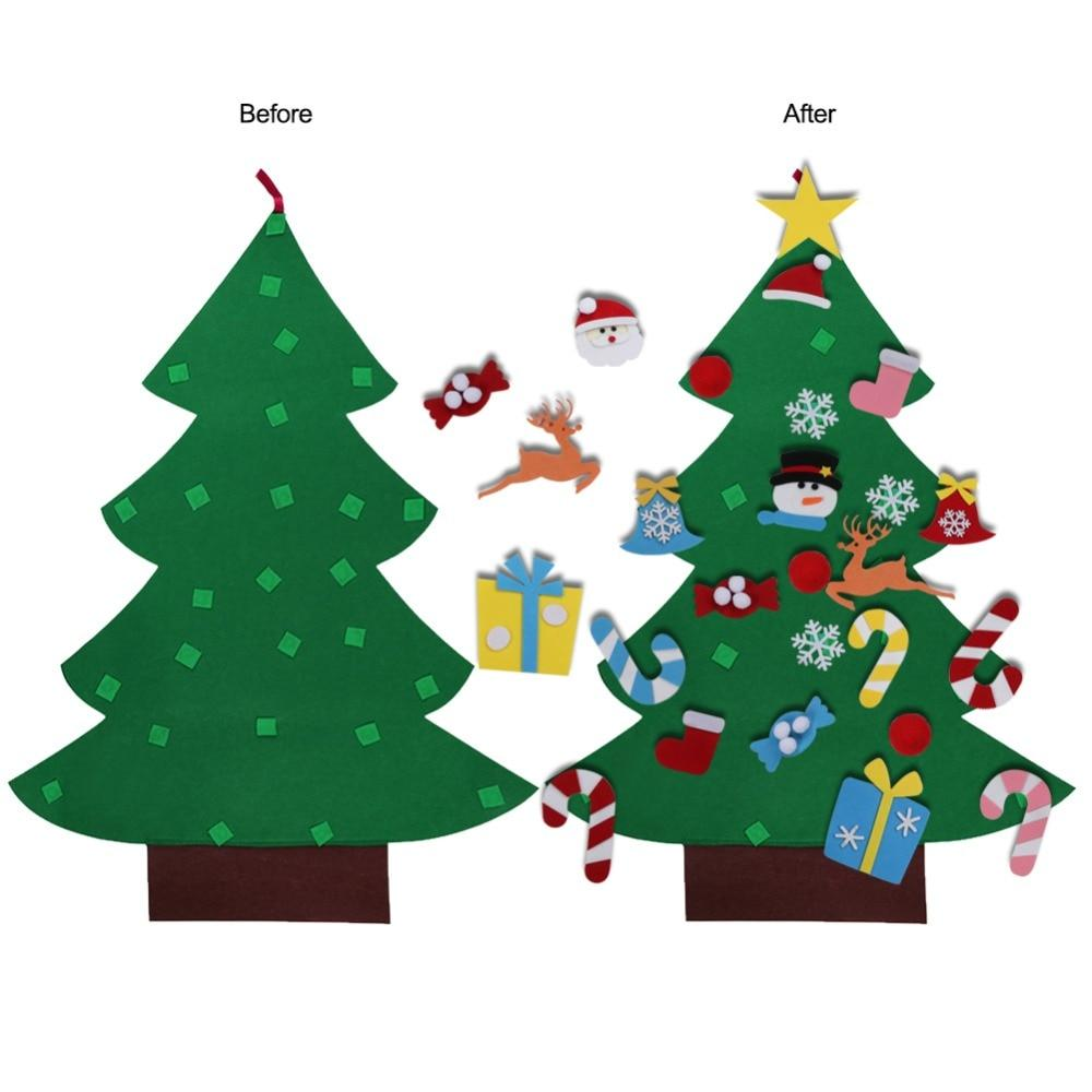OurWarm DIY Felt Christmas Tree New Year Gifts Kids Toys Artificial Tree Wall Hanging Ornaments Christmas Decoration for Home - Maverick Mall