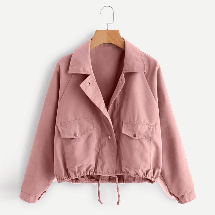 Outerwear & Coats Jackets Autumn Fashion Short Pink Button Coat Pocket Jacket Cardigan coats and jackets women 2018JUL26 - Maverick Mall