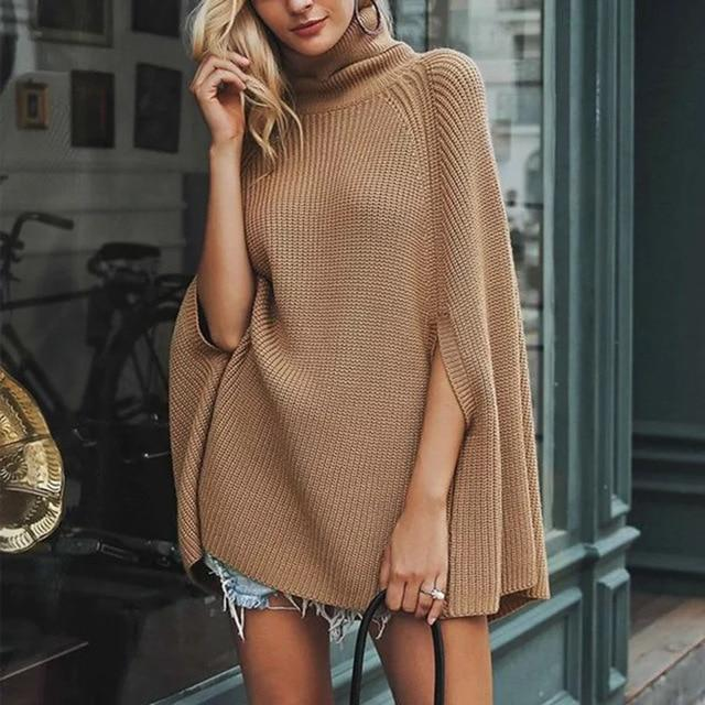 Oversize Sweater Fashion Cloak Winter Women Batwing Knitted Ladies Turtleneck Sexy Plus Size Fall Loose  Autumn Europe America