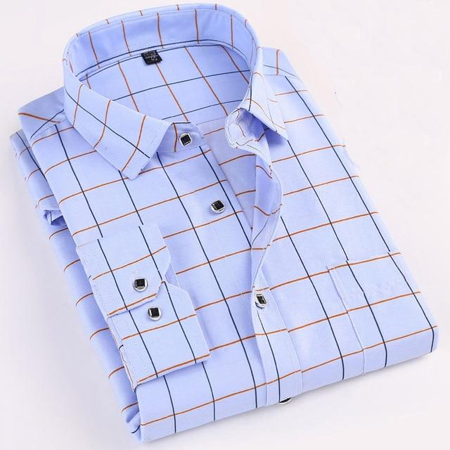 Printed Plaid Polka Dot Men Shirt Long-Sleeved Casual Shirts For Men Slim Fit 21 Colors Male Dress Shirts Camisas Masculina - Maverick Mall