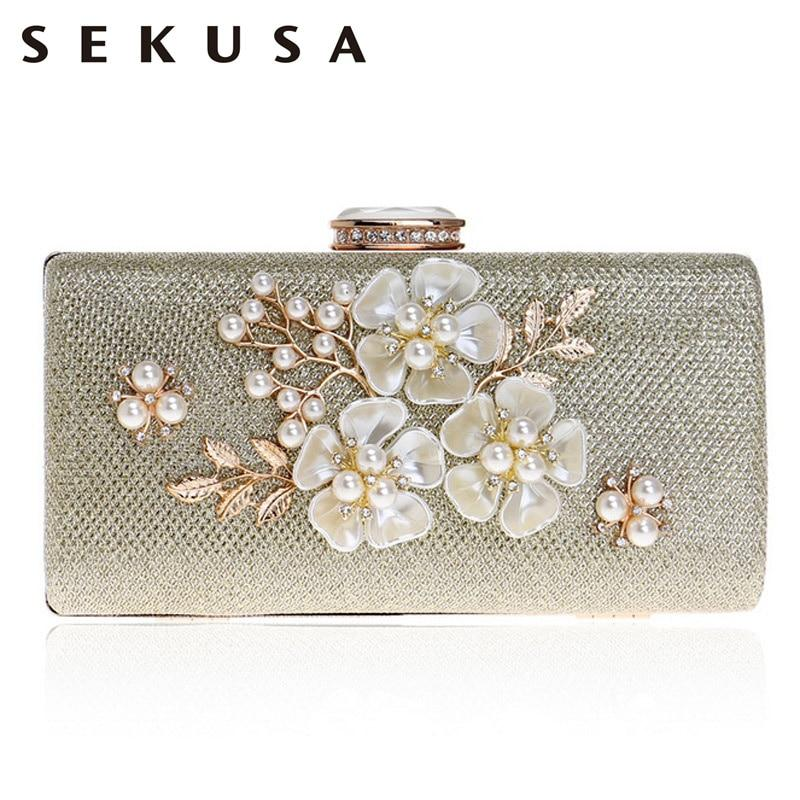 SEKUSA Shell Flower Women Evening Bag Sequined Diamonds Small Party Wedding Handbags For 2017 Female Clutch Purse Bags - Maverick Mall
