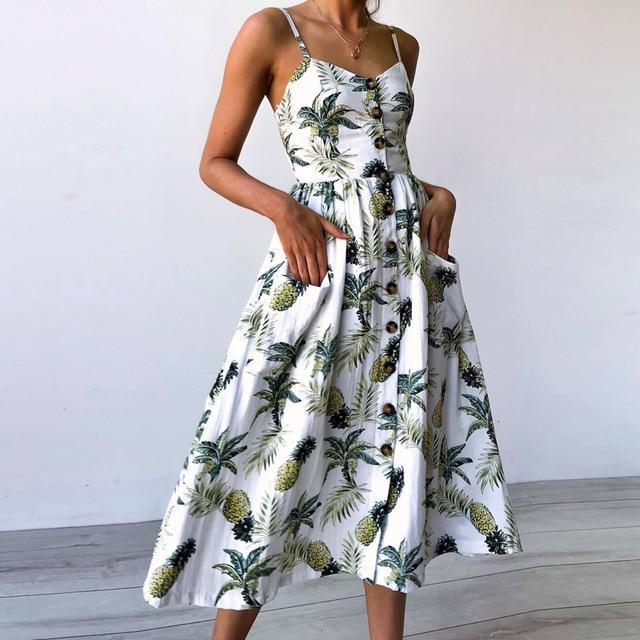 Sexy V Neck Backless Floral Summer Beach sundress dress Women 2019 White Boho Striped Button Sunflower Daisy Party Midi Dresses - Maverick Mall