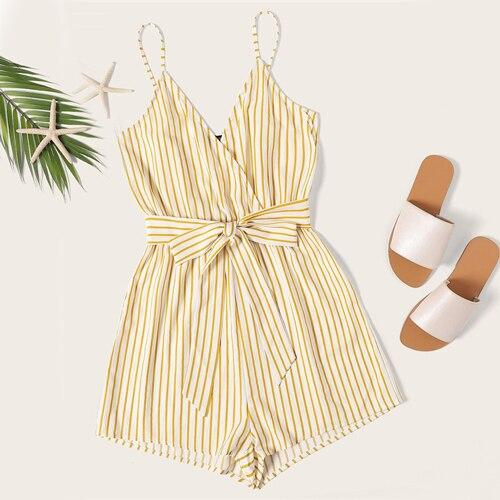 SHEIN Striped Wrap Cami Rompers Womens Jumpsuit With Belt Women Vacation Beach Sleeveless Sexy Jumpsuit 2019 Summer Playsuit