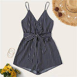 SHEIN Striped Wrap Cami Rompers Womens Jumpsuit With Belt Women Vacation Beach Sleeveless Sexy Jumpsuit 2019 Summer Playsuit - Maverick Mall