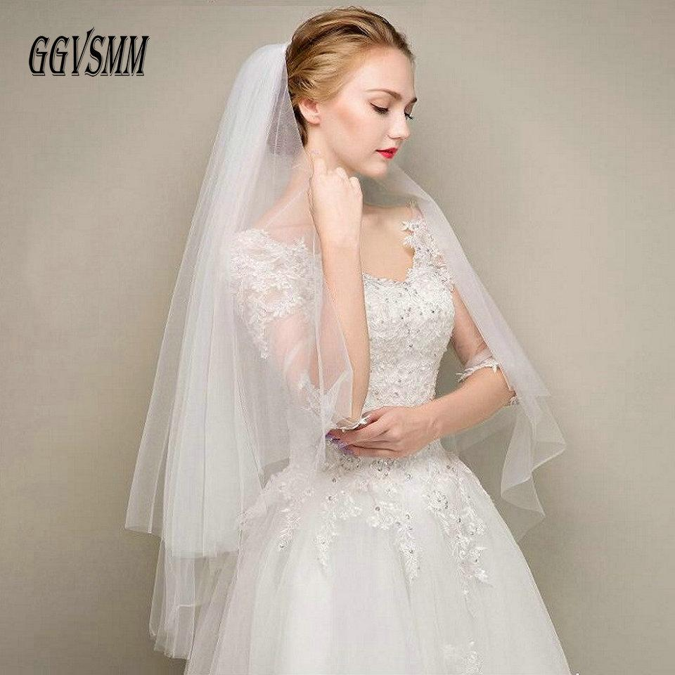 Simple Two Layers Short Tulle White Wedding Veils Cheap 2019 Ivory Bridal Veil for Bride for Mariage Wedding Accessories Comb - Maverick Mall