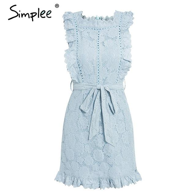 Simplee Elegant embroidery lace women dress Hollow out sashes ruffle white summer dress Slim sexy party lady dress vestidos 2019 - Maverick Mall