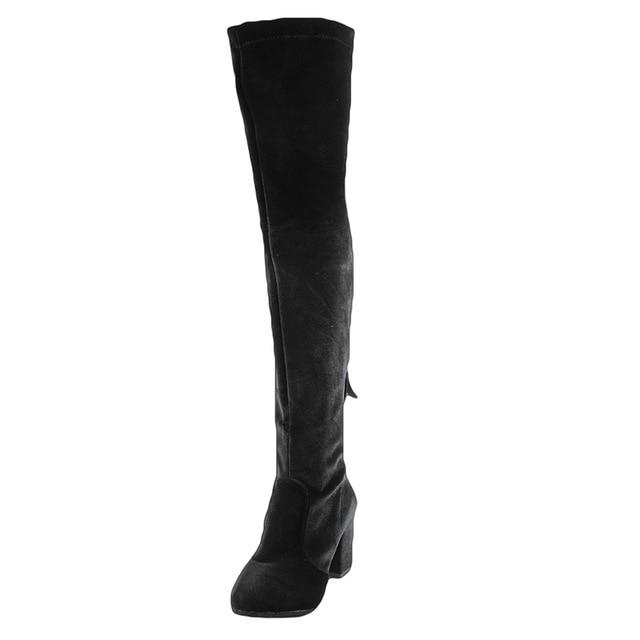 Square High Heels Slim Boots Female Over The Knee Boots Women Motorcycle Boot Plus Size Women's Thigh High Boots Shoes Woman- Maverick Mall