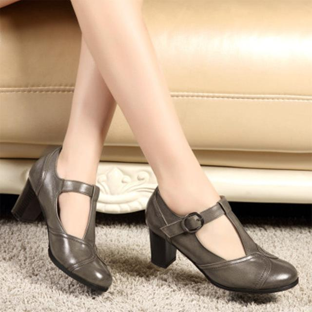 SWONCO Shoes Woman High Heel 2019 Spring Summer Genuine Leather Shoe Women Office Shoes Pumps Women Black Shoe- Maverick Mall