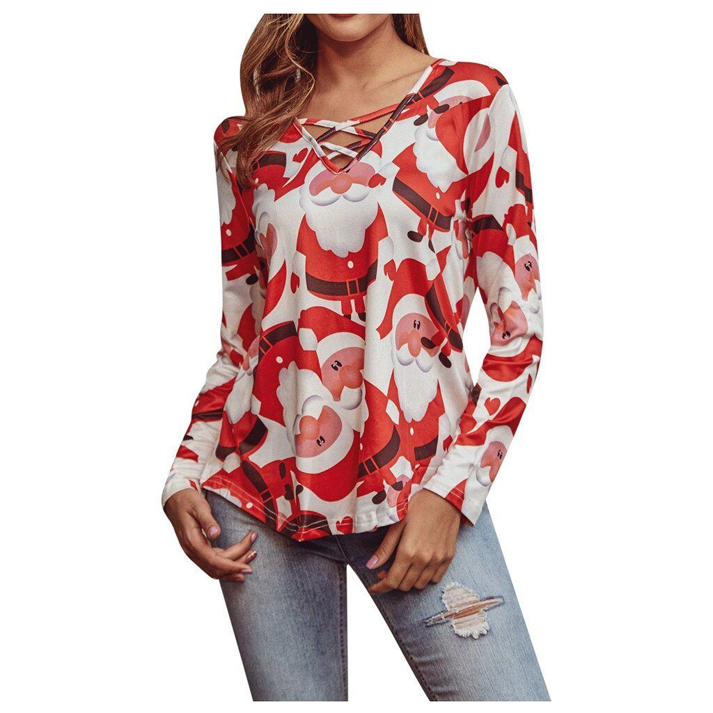 T shirt Womens Festival Christmas Print V-neck Long Sleeve T-Shirts - Maverick Mall