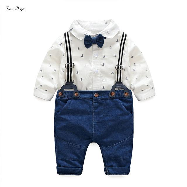 Tem Doger Baby Boys Gentleman Clothes Suits Bowtie Shirt Rompers + Overalls 2pcs Toddler Bodysuit Outfits Infant Party Jumpsuits- Maverick Mall