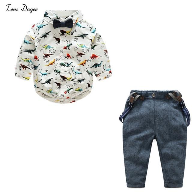 Tem Doger Baby Boys Gentleman Clothes Suits Bowtie Shirt Rompers + Overalls 2pcs Toddler Bodysuit Outfits Infant Party Jumpsuits - Maverick Mall