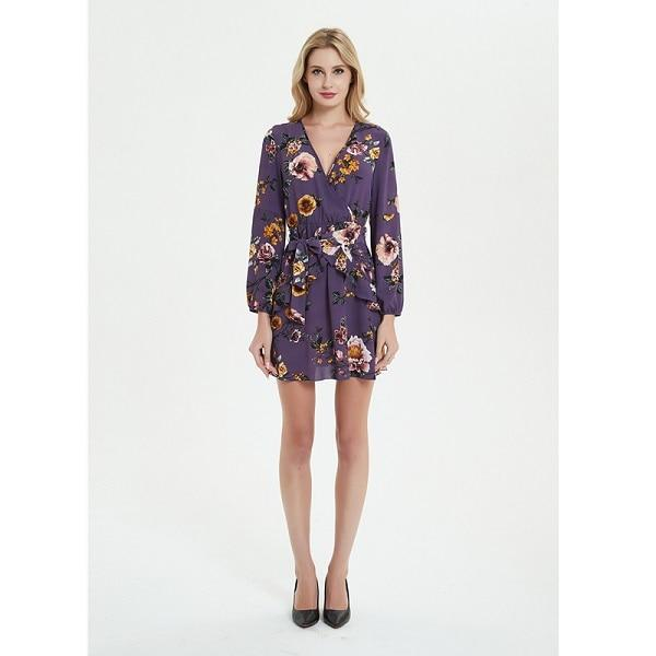 Uguest Summer Women Dress 2018 Sexy Deep V Neck Floral Printed Mini Party Dress Lady Beach Dresses Causal Long Sleeve- Maverick Mall