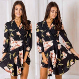 Uguest Summer Women Dress 2018 Sexy Deep V Neck Floral Printed Mini Party Dress Lady Beach Dresses Causal Long Sleeve - Maverick Mall