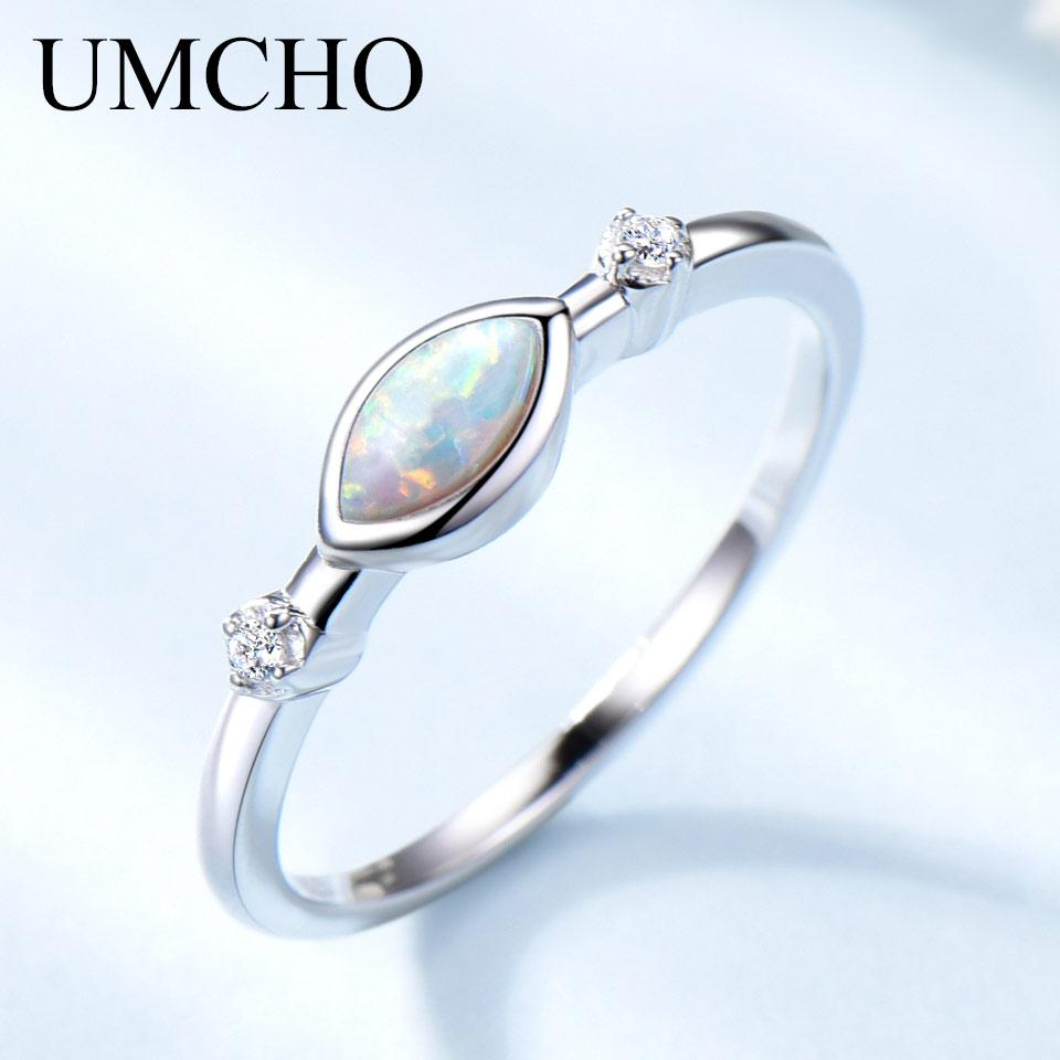 UMCHO White Fire Opal Rings for Women Solid 925 Sterling Silver Gemstone Romantic Engagement Promise Ring Vintage Fine Jewelry - Maverick Mall