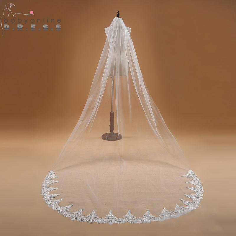 Voile Mariage 3M One Layer Lace Edge White Ivory Cathedral Wedding Veil Long Bridal Veil Cheap Wedding Accessories Veu de Noiva - Maverick Mall
