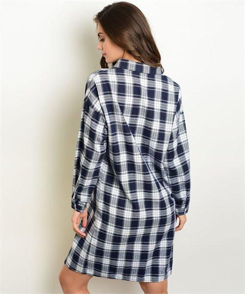 Women's Shirt Dress Plaid Button Down Casual Dress - Maverick Mall