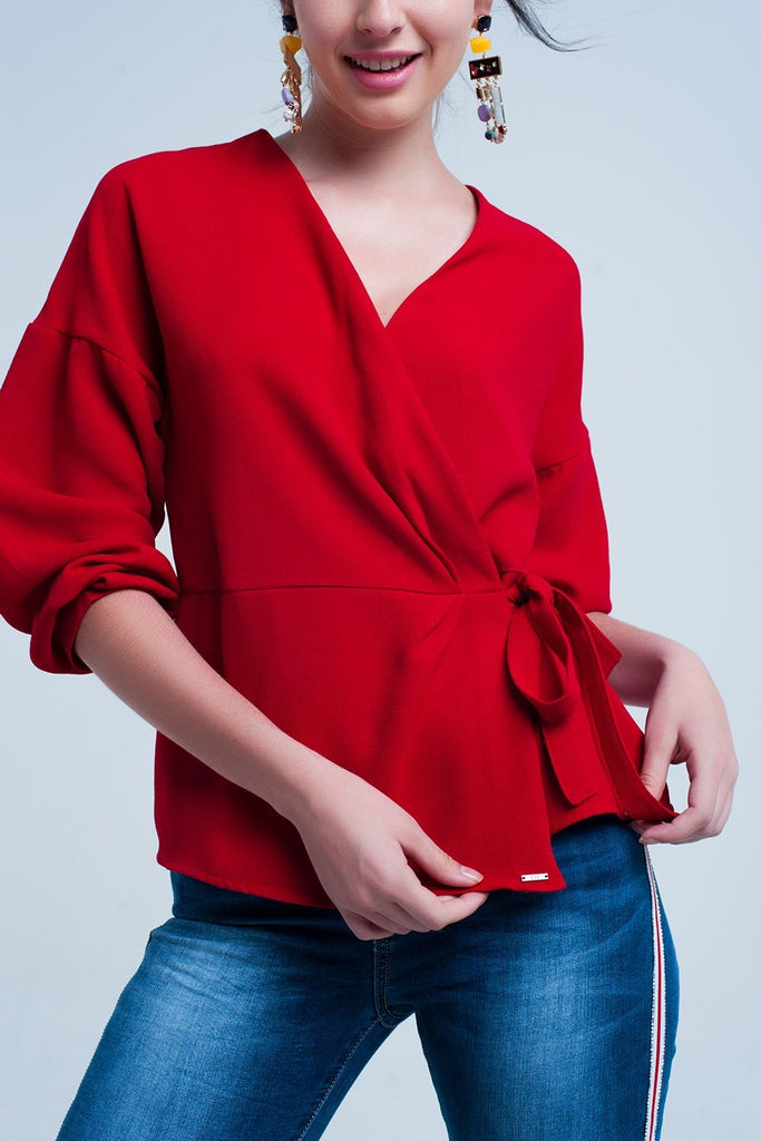 Women - Apparel - Shirts - Blouses - Red Shirt With Crossed Tie