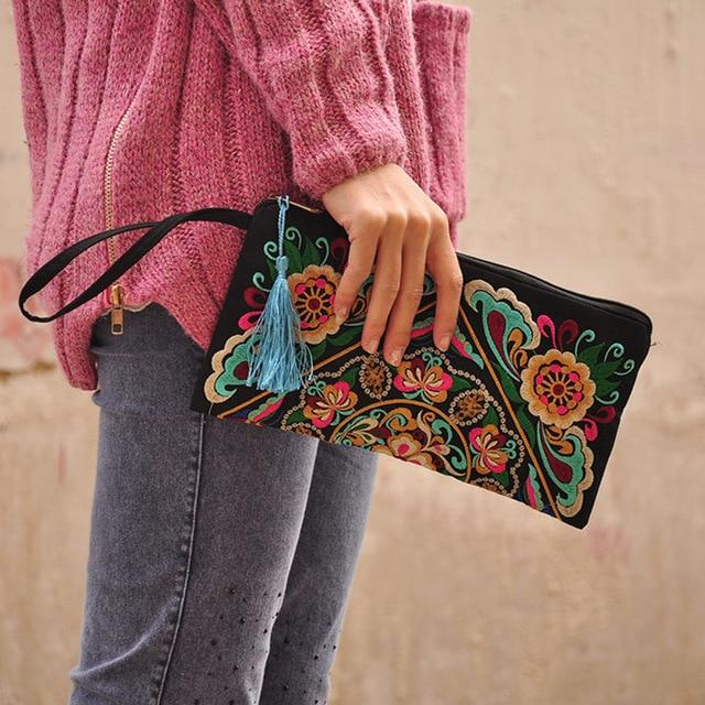 Women Bag Handbags Summer Cotton Clutch Embroidered Purse Phone Coin Tassel Small Floral Female Bolsa Casual Wallet Vintage Sale- Maverick Mall