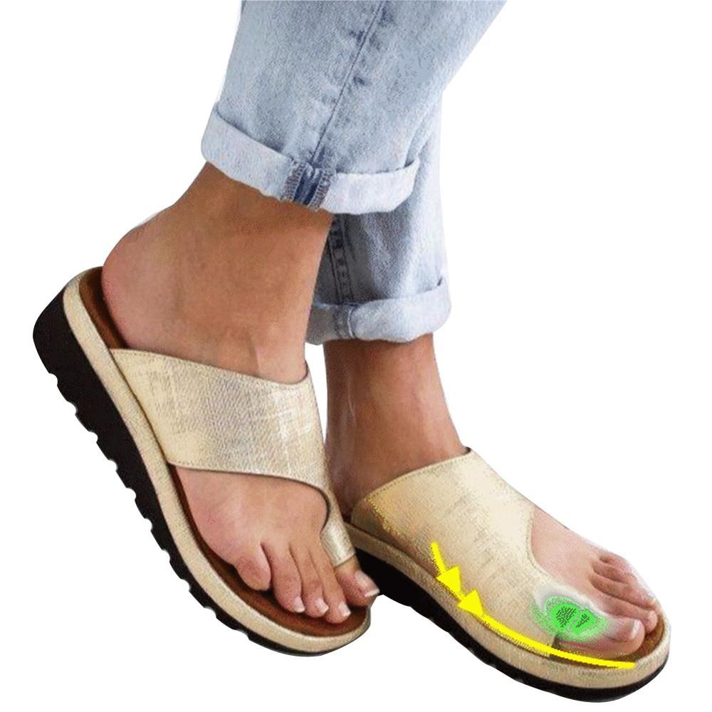 Women PU Leather Shoes Comfy Platform Flat Sole Ladies Casual Soft Big Toe Foot Correction Sandal Orthopedic Bunion Corrector - Maverick Mall