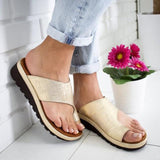 Women PU Leather Shoes Flat Platform Ladies Rome Casual Flip Flop Big Toe Foot Correction Sandals Orthopedic Bunion Corrector - Maverick Mall
