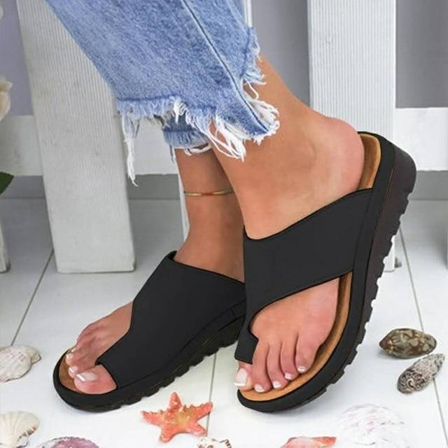 Women PU Leather Shoes Flat Platform Ladies Rome Casual Flip Flop Big Toe Foot Correction Sandals Orthopedic Bunion Corrector