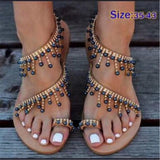 Women sandals summer flat pearl sandals flip flops rome shoes string bead slippers mujer gladiator sandalias sapatos femininos- Maverick Mall