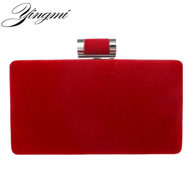 YINGMI New arrival women fashion evening bags clutch evening bag black red handbags with chain women messenger shoulder bags- Maverick Mall