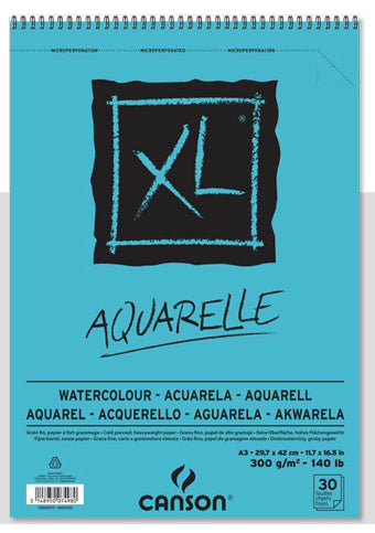 XL AQUARELLE לצבעי מים30  דף A4 בלוק canson XL AQUARELLE